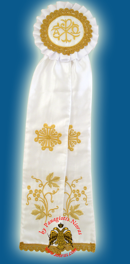 Ecclesiastical Ribbon Badge for Church Decoration 17x60cm White