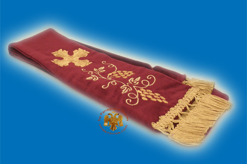 Gospel Ribbon Orthodox Gold-embroidered Design Cross with Grapes in Burgundy Velvet