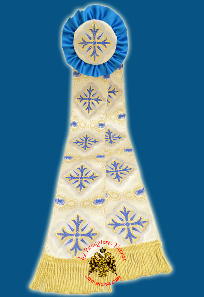 Ecclesiastical Ribbon Badge for Church Decoration 20x90cm White Blue