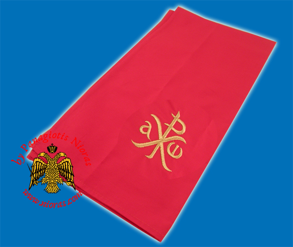 Maktro Holy Communion Divine Liturgy Purificator Burgandry Cotton Cloth with Gold Thread ARXO Design