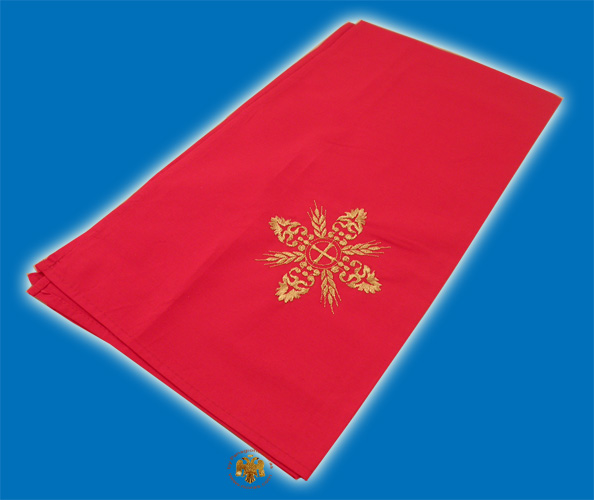 Maktro Holy Communion Divine Liturgy Purificator Burgandry Cotton Cloth with Gold Thread Cross Details Design E
