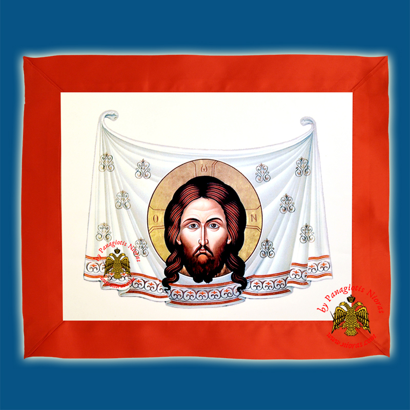 The Holy Mandylion Silk Print Coloured with Red Linnen Cloth in the Back