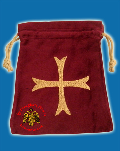 Orthodox Antidoron Caring Case with Cross in Velvet