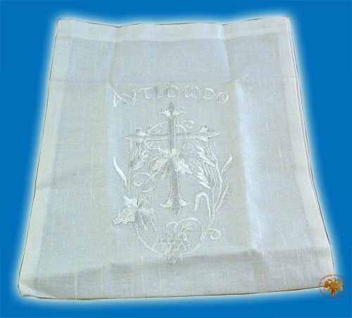 Orthodox Antidoron Caring Cotton Pouch Case Silver Vine Cross