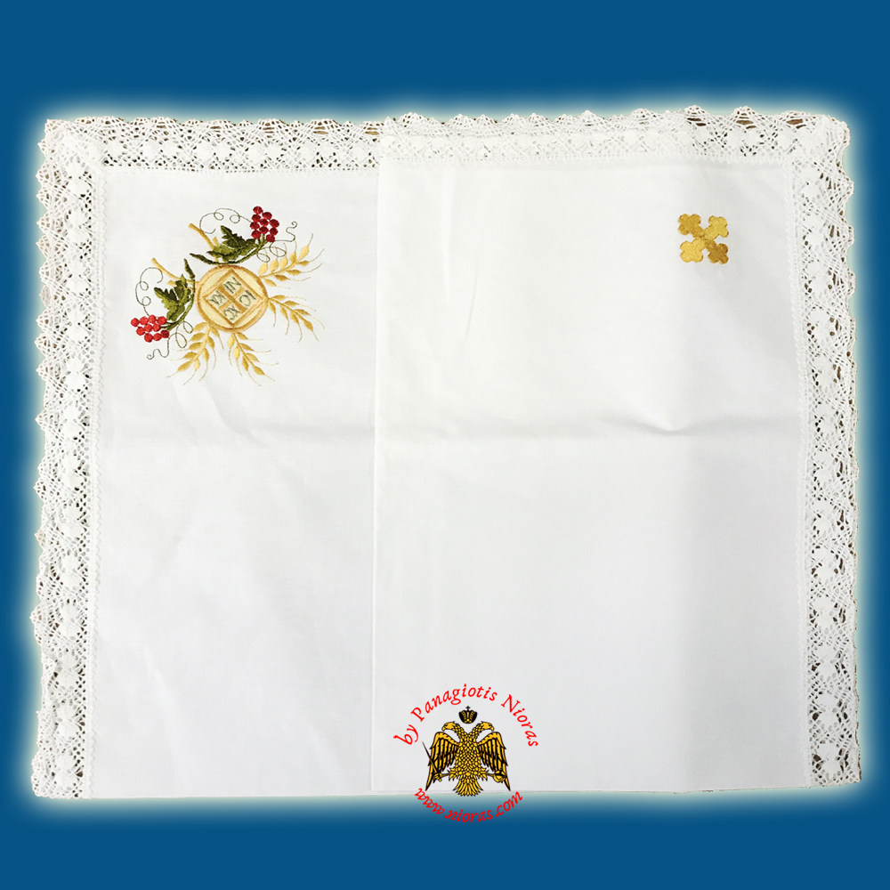 Orthodox Cotton Towel for Artoclasia With Coloured Thread