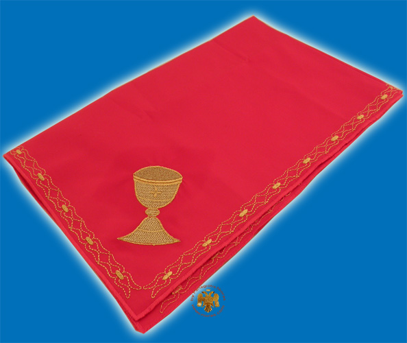 Maktro Holy Communion Divine Liturgy Purificator Burgandry Cotton Cloth with Gold Thread Holy Communion