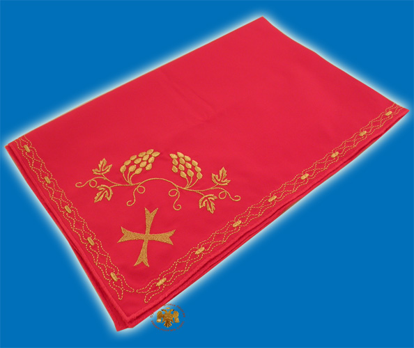 Maktro Holy Communion Divine Liturgy Purificator Burgandry Cotton Cloth with Gold Thread Details Design I