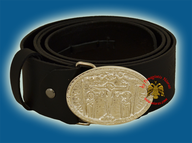 Monastic Orthodox Leather Belt with Metal Buckle with Crucifixion Nickel