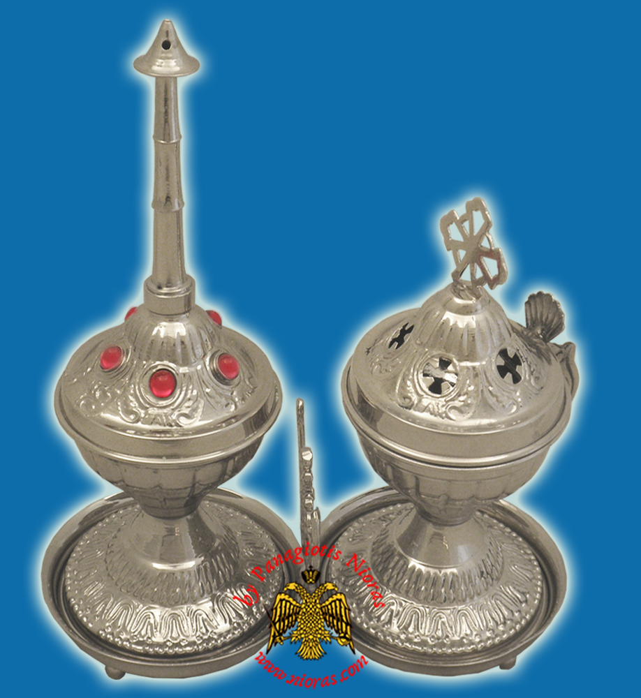 Ecclesiastical Sprinkler and Censer Silver-Plated