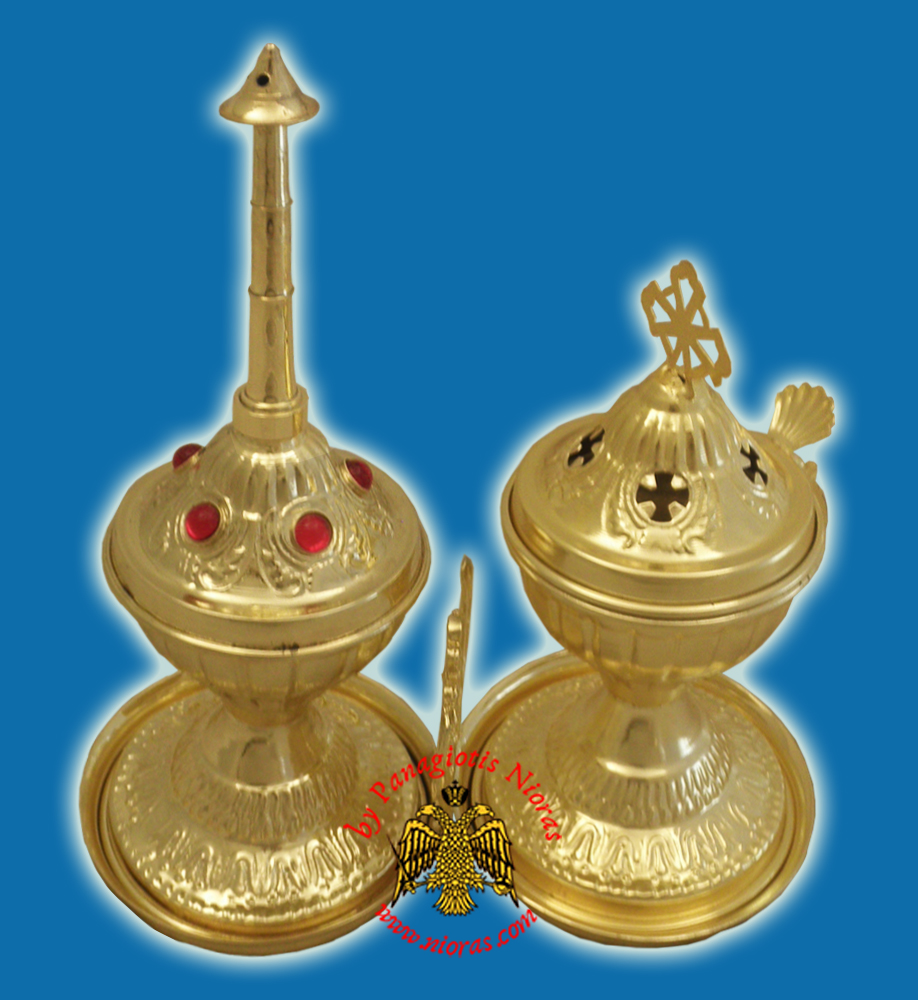 Ecclesiastical Sprinkler and Censer Gold-Plated