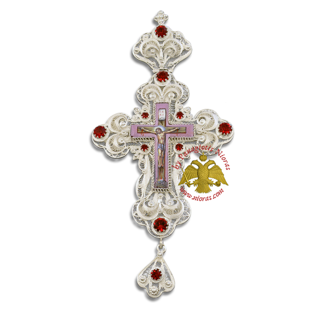 Pectoral Cross Silver Filigree Design 2 Red Stone