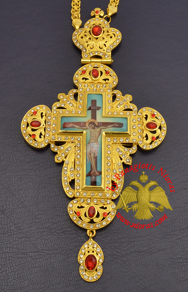 Orthodox Pectoral Christ Cross Gold Plated with Colored Stones 6x16cm