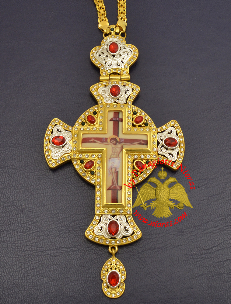 Orthodox Pectoral Christ Cross Gold & Silver Plated with Colored Stones 6x15,5cm