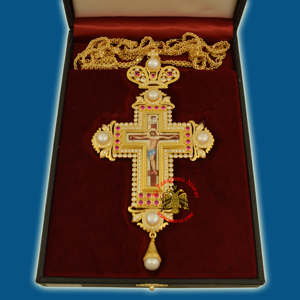 Pectroral Cross Enamel INBI Christ 297