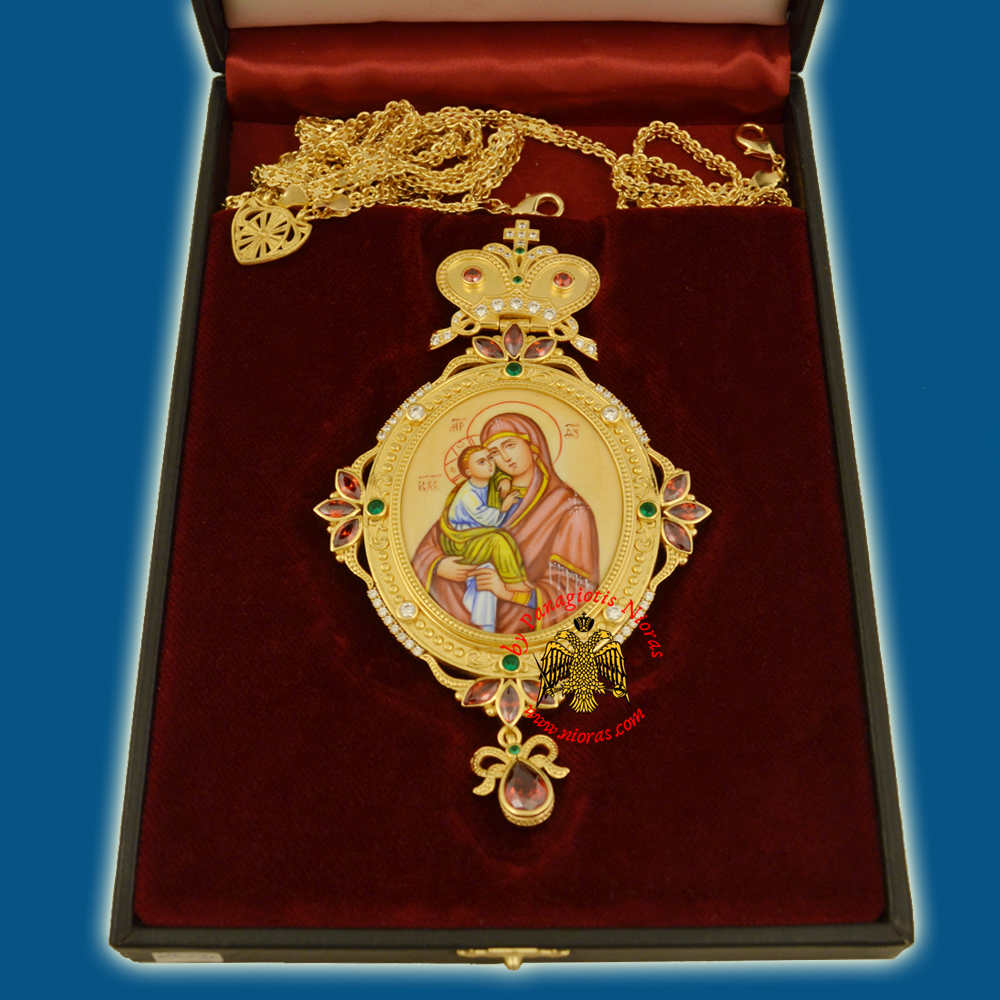Engolpion Panagia Enamel Gold Plated 268