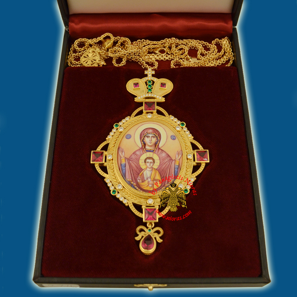 Engolpion Panagia Enamel Gold Plated 274