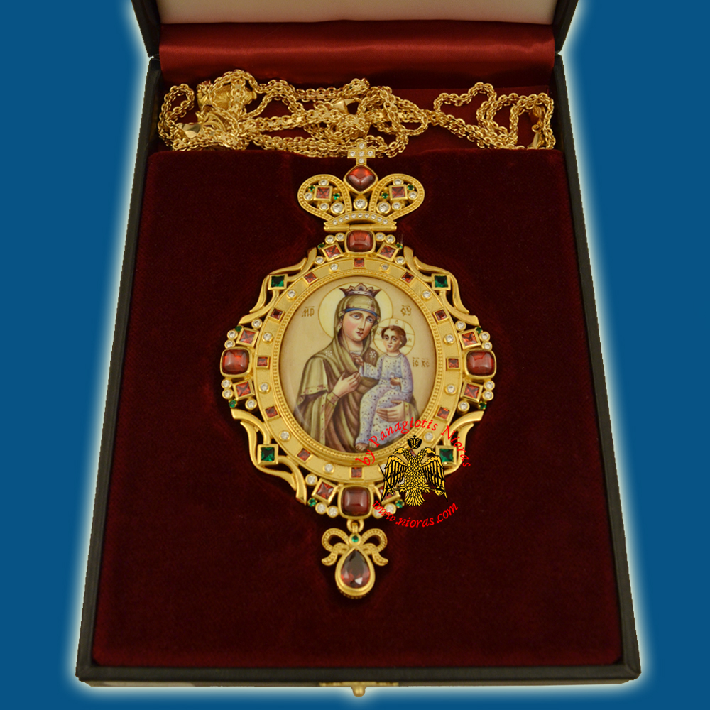 Engolpion Panagia Enamel Gold Plated 282