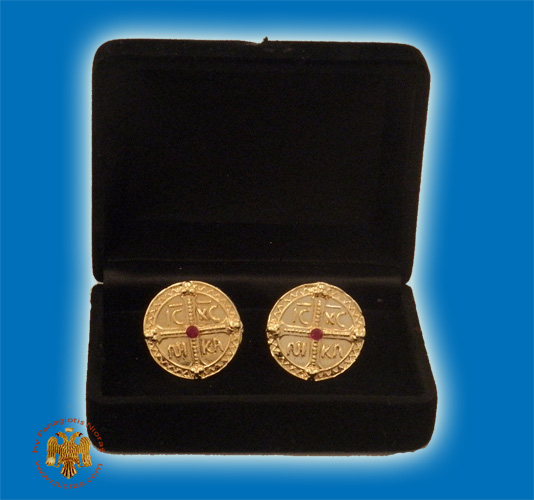 Cufflinks Gold Plated ICXC NIKA With Stone