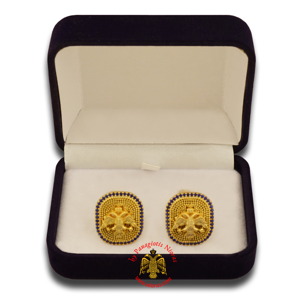 Orthodox Clerics Silver Cufflinks Design Byzantine Eagle Gold Plated with semiprecious stones A
