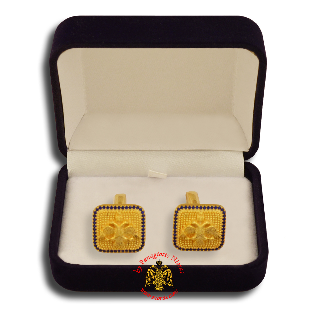 Orthodox Clerics Silver Cufflinks Design Byzantine Eagle Gold Plated with semiprecious stones B