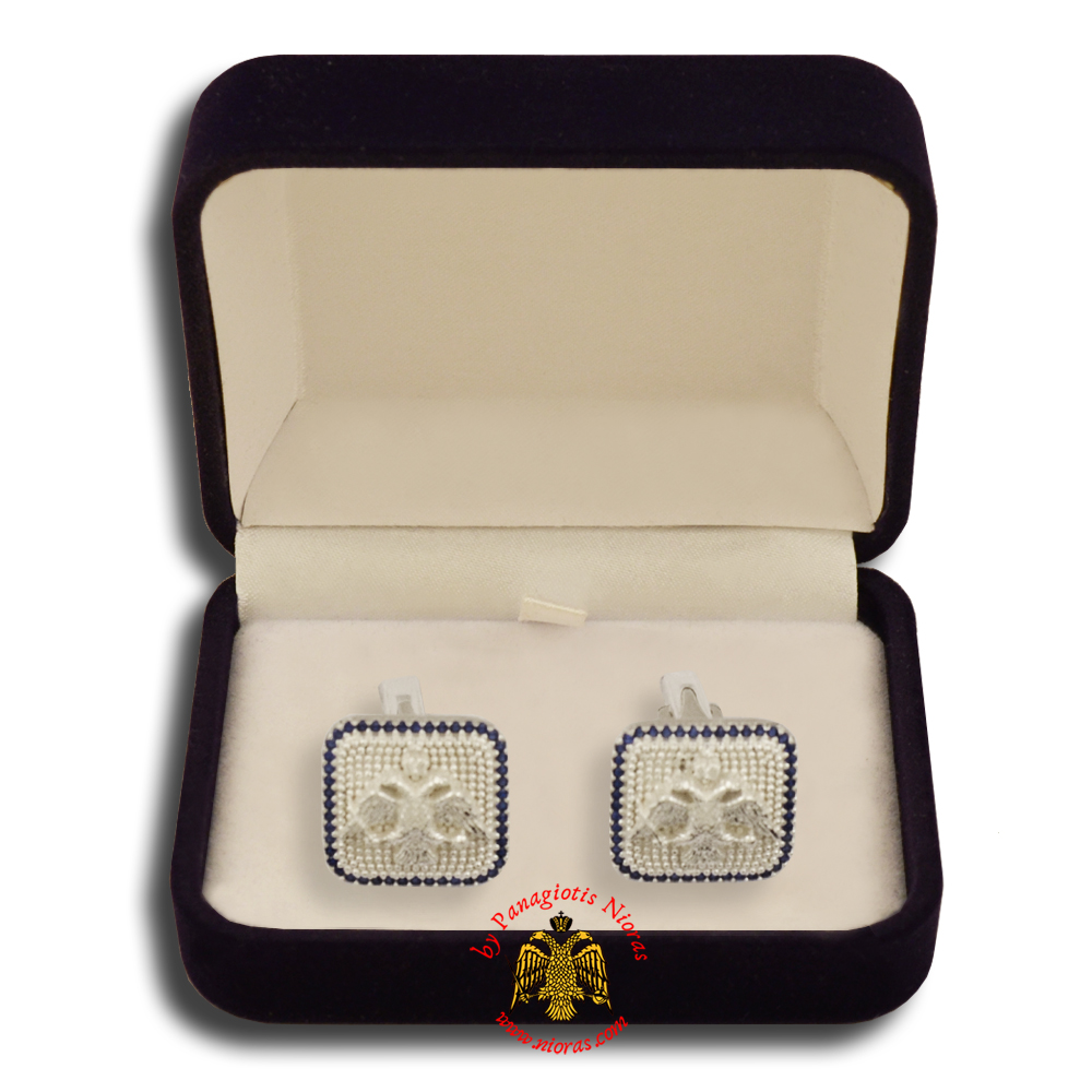 Orthodox Clerics Silver Cufflinks Design Byzantine Eagle with Stones B