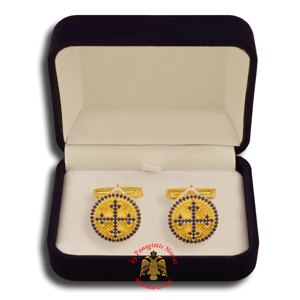 Orthodox Clerics Silver Cufflinks Design Cross Gold Plated with semiprecious stones A