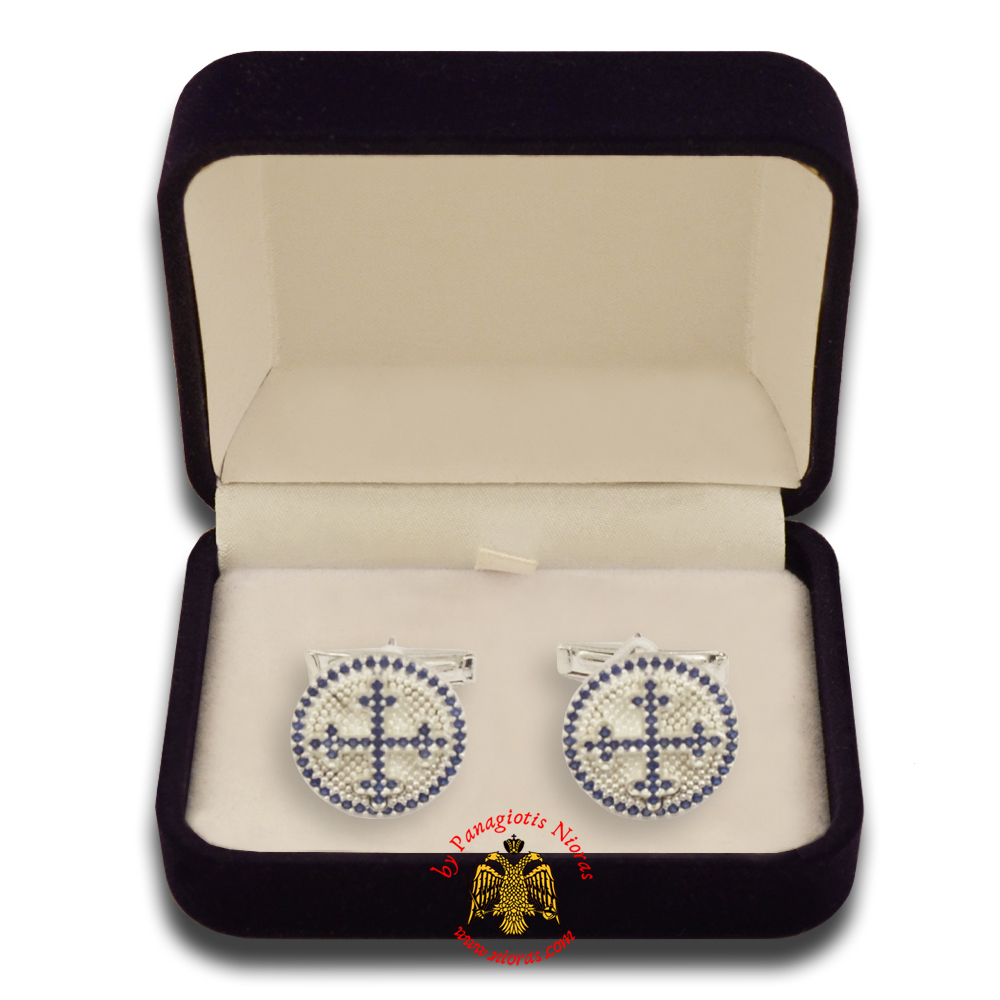 Orthodox Clerics Silver Cufflinks Design Cross with SemiPrecious stones A