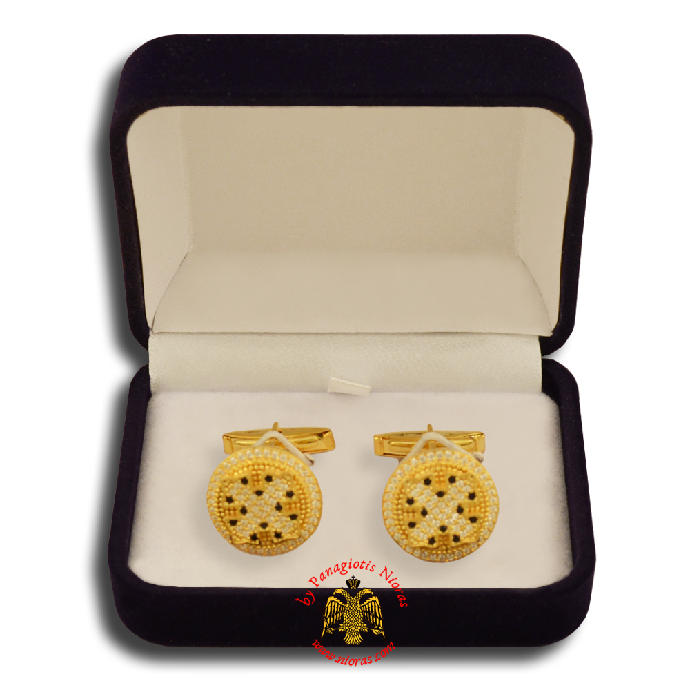 Orthodox Clerics Silver Cufflinks Design Cross Gold Plated with semiprecious stones B