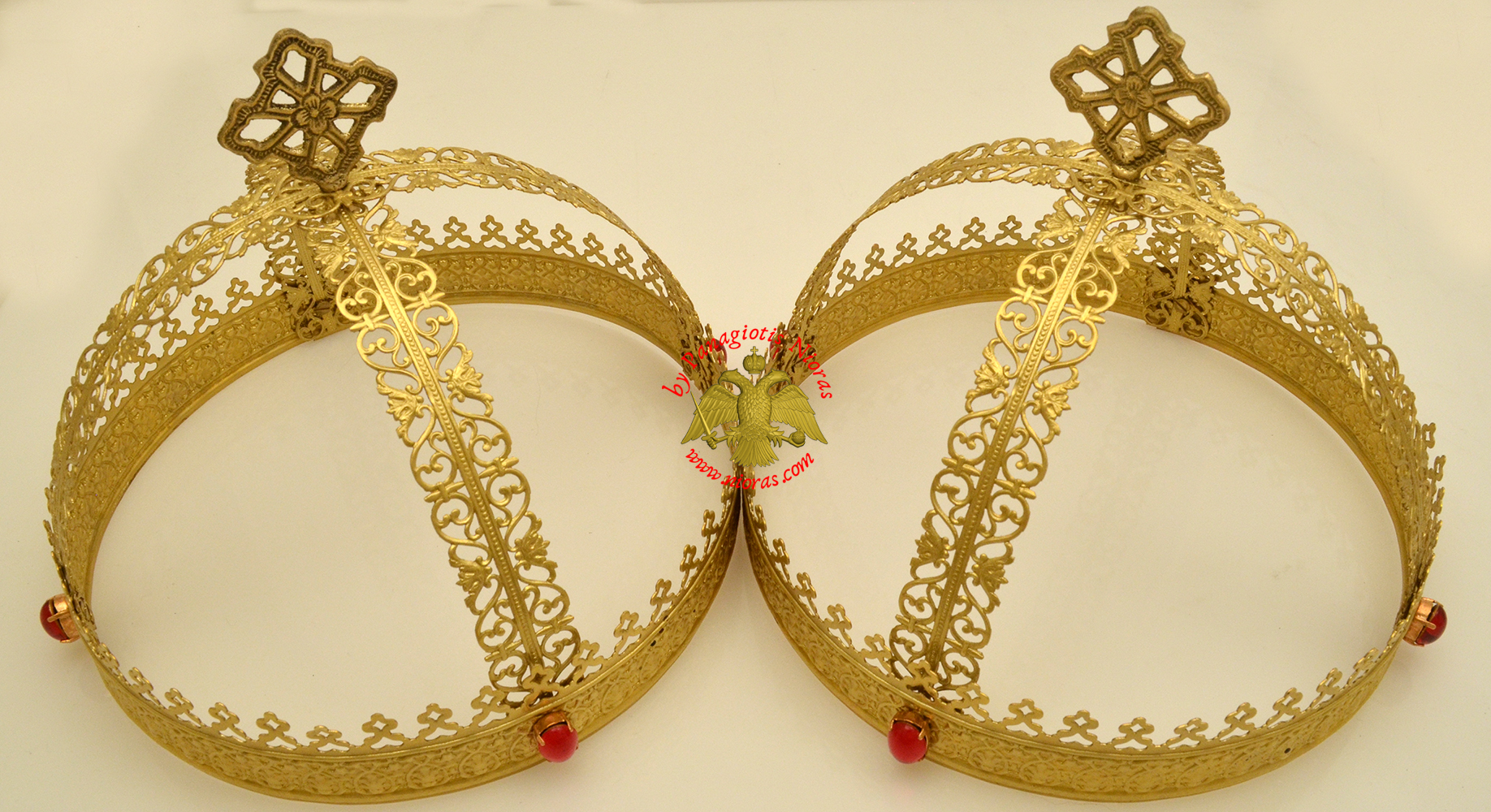 Byzantine Set Wedding Crowns Brass Polished Plain
