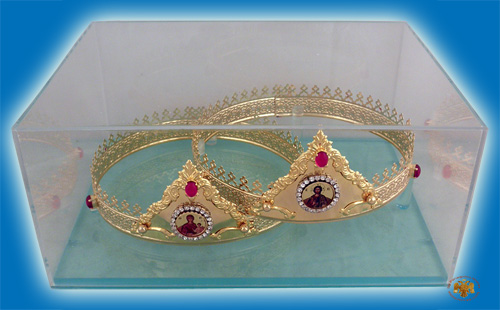 Byzantine Set Wedding Crowns Gold Plated With Display Case Special Order
