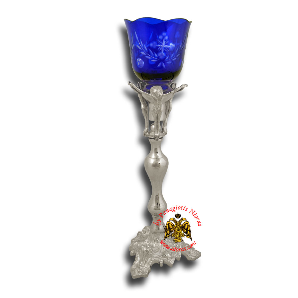 Holy Table Altar Vigil Oil Candle With Christ H:36cm Silver Plated