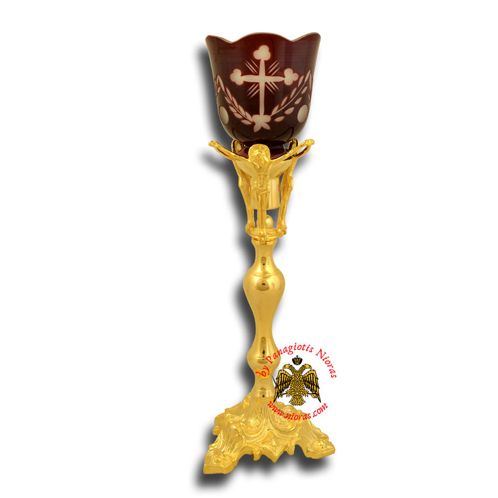 Holy Table Altar Vigil Oil Candle With Christ H:36cm Gold Plated