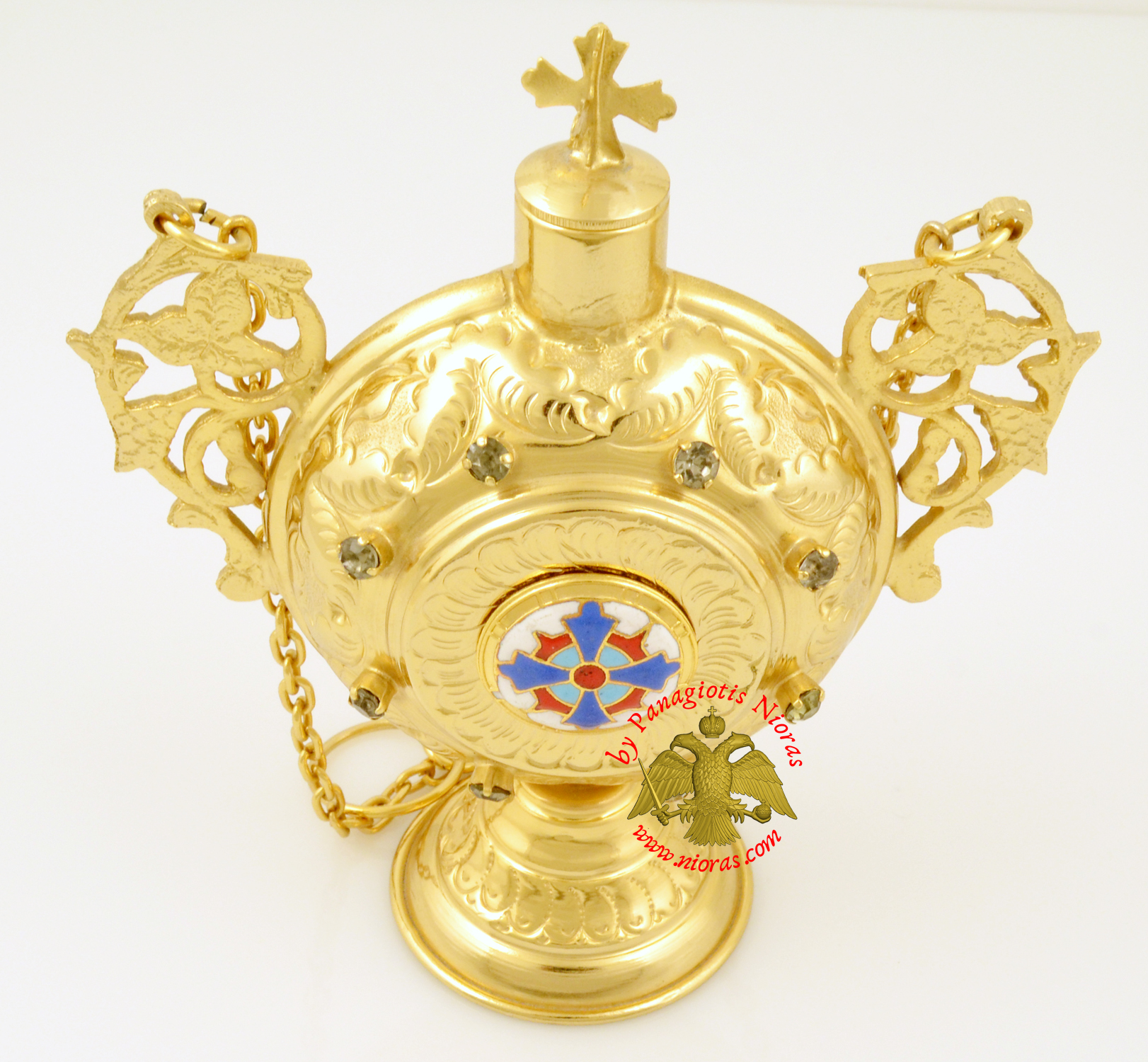 Anointing Holy Oil Round Bottle With Orthodox Cross Round Enamel Gold plated