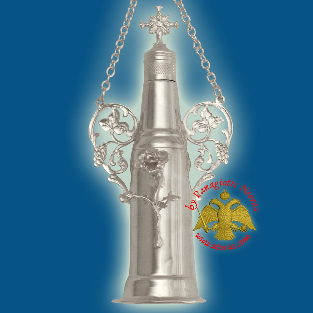 Anointing Holy Oil Cylinder Bottle With Cross Nickel plated