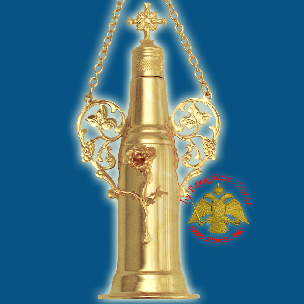 Anointing Holy Oil Cylinder Bottle With Cross Gold plated