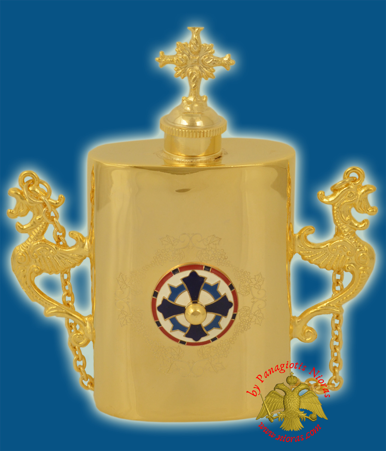 Anointing Holy Oil Gold Plated Metal Vessel With Orthodox Cross Enamel With Vine Engravings