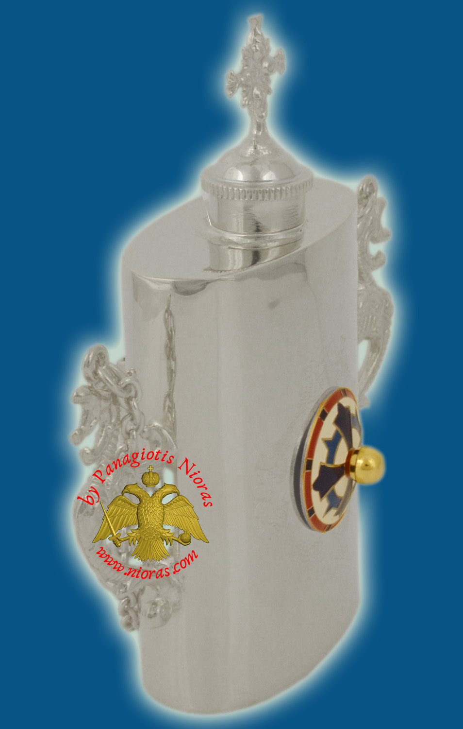 Anointing Holy Oil Silver Plated Metal Vessel With Orthodox Cross Enamel With Vine Engravings