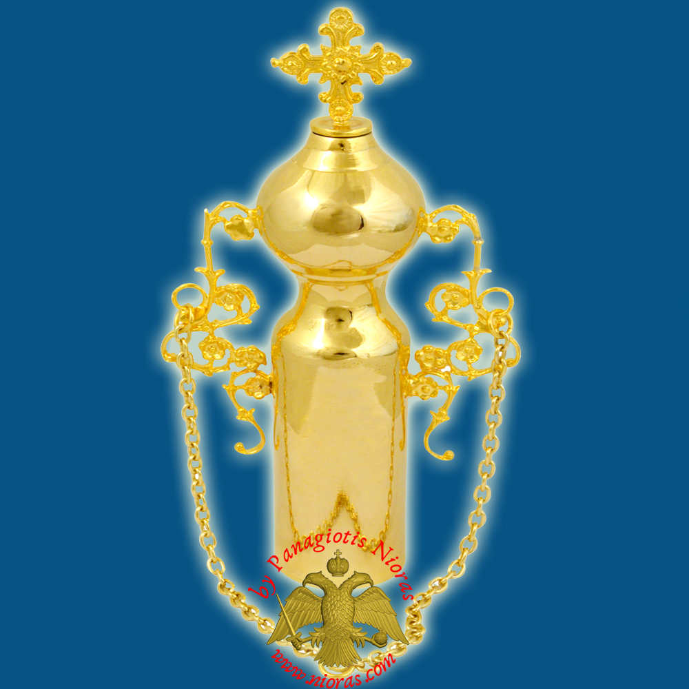 Anointing Holy Oil Bottle With Cross in the Lid Gold plated