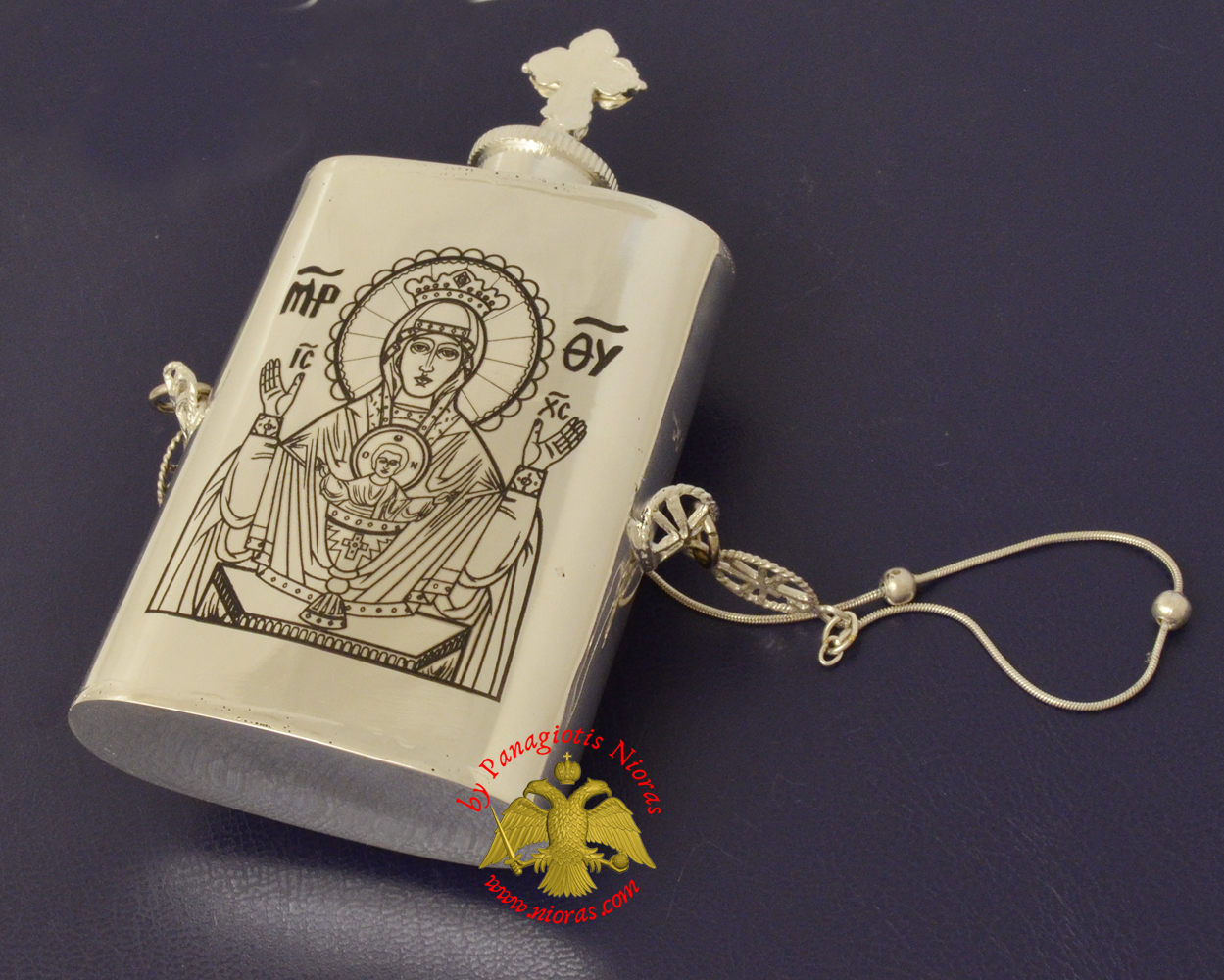 Anointing Holy Oil Silver Sterling 925 Vessel With Orthodox Theotokos Engraving