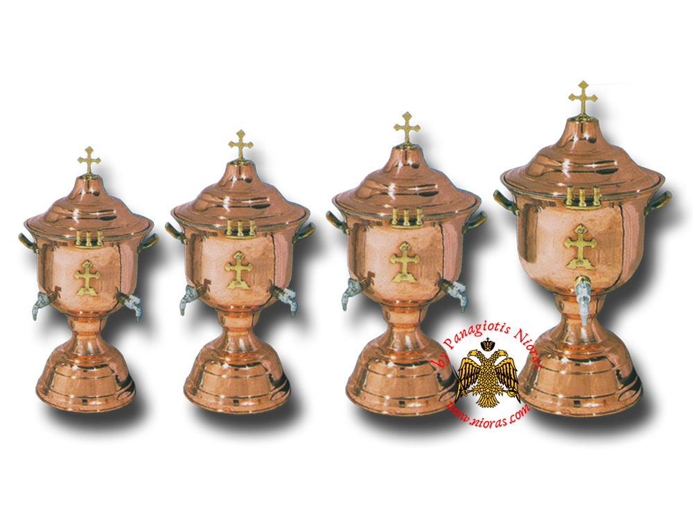 Orthodox Church Holy Water Font with Lid Metal Cross Decor Copper