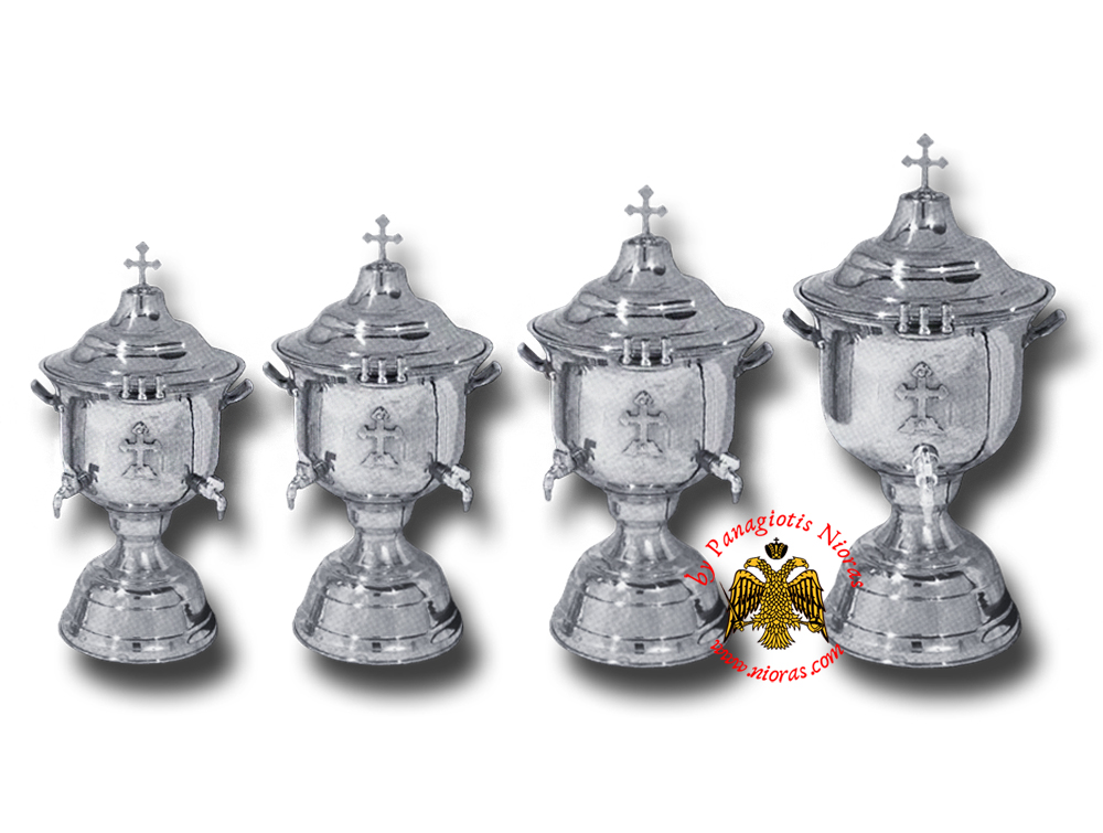 Orthodox Church Holy Water Font with Lid Metal Cross Decor Nickel