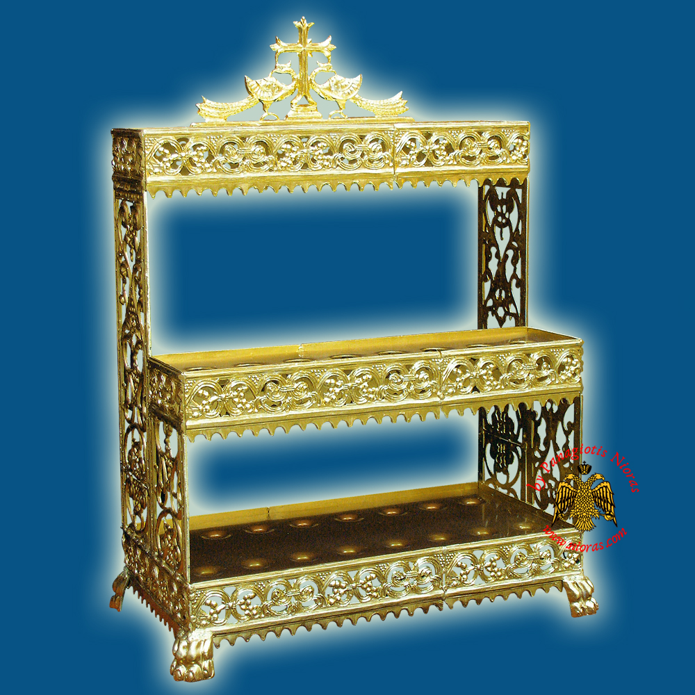 Orthodox Aluminum 2-Level Candle Holder for 18 Church Lambadas 31x62x86cm