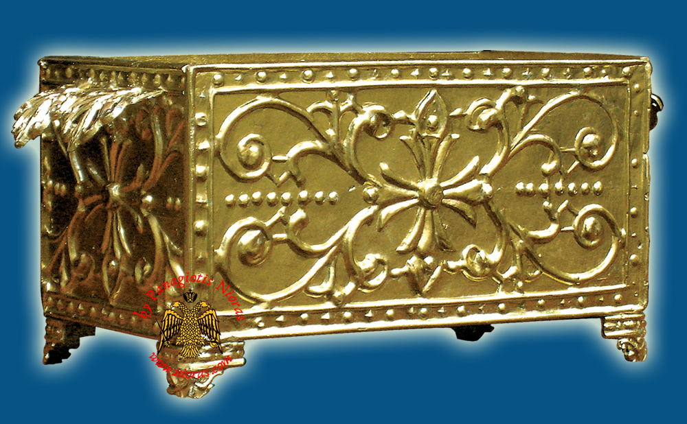 Church Recycle Candle Box C Golden Aluminum - 40x19x19cm