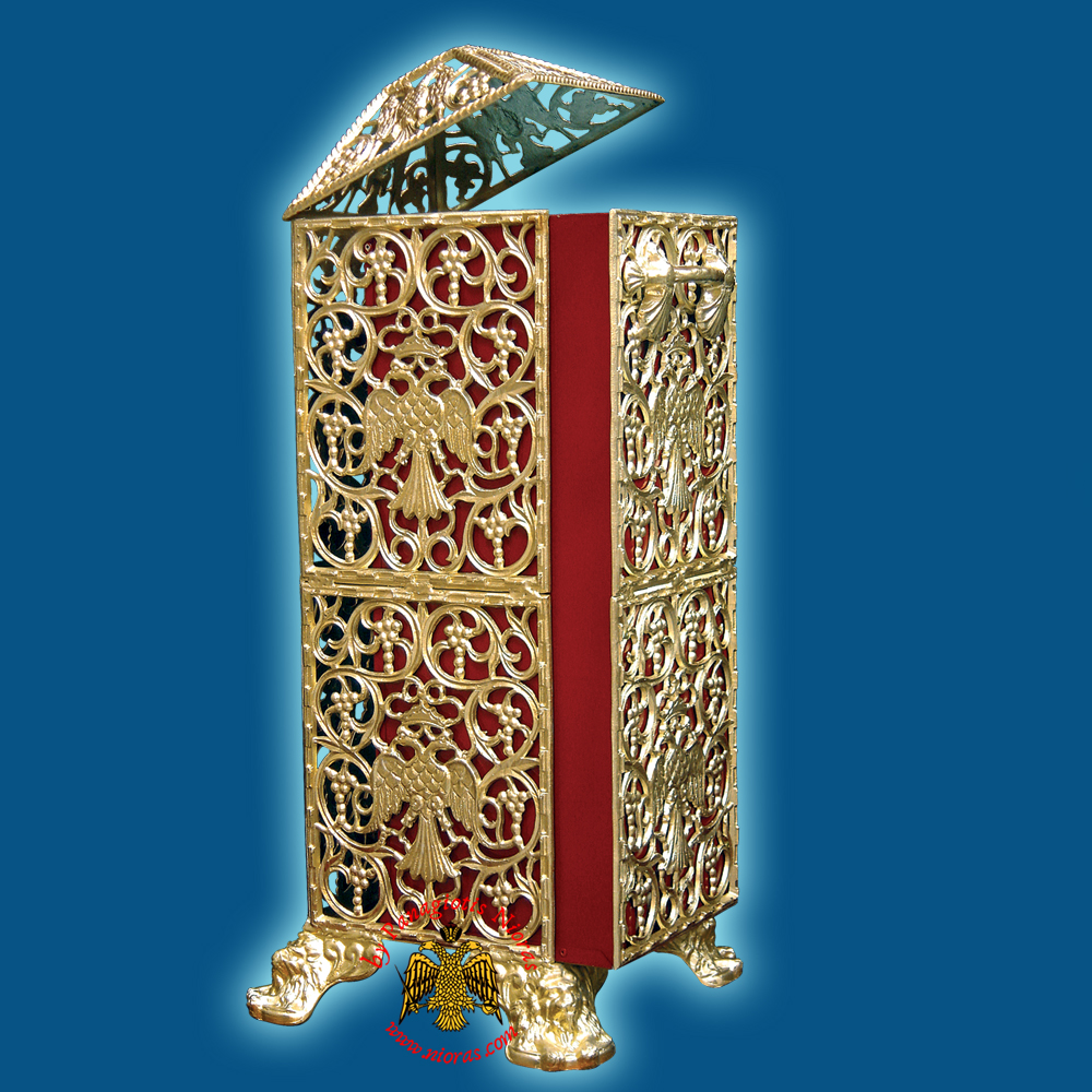 Church Recycle Candle Box D Golden Aluminum - 30x33x86cm