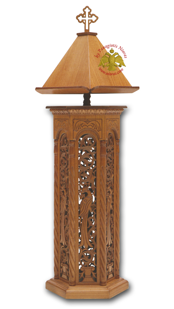 Orthodox Psalter Stand Wooden Hexagonal A\' with Byzantine Carved Designs