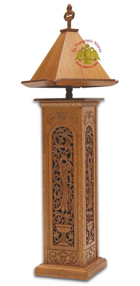 Orthodox Chanter Psalter Stands Wooden Square B' with Byzantine Carvings