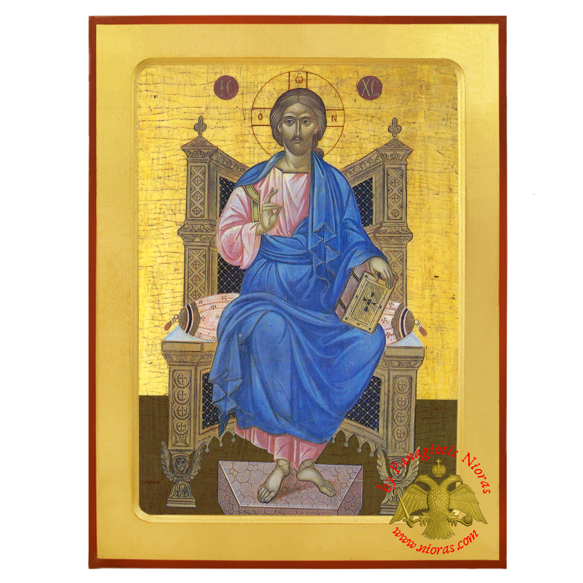 Jesus Christ Enthroned Orthodox Byzantine Wooden Icon