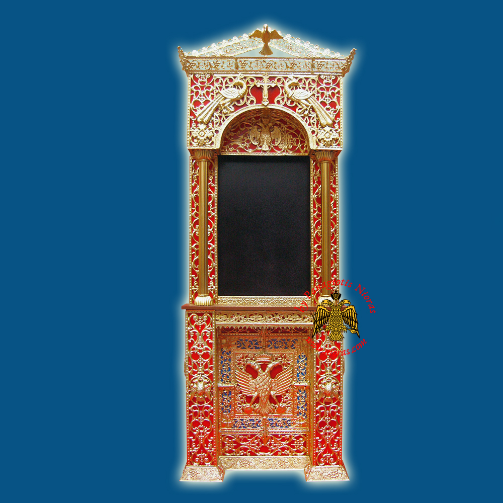 Orthodox Church Icon Presentation Wall Iconostasis Byzantine Eagle B with Cross Golden Aluminum