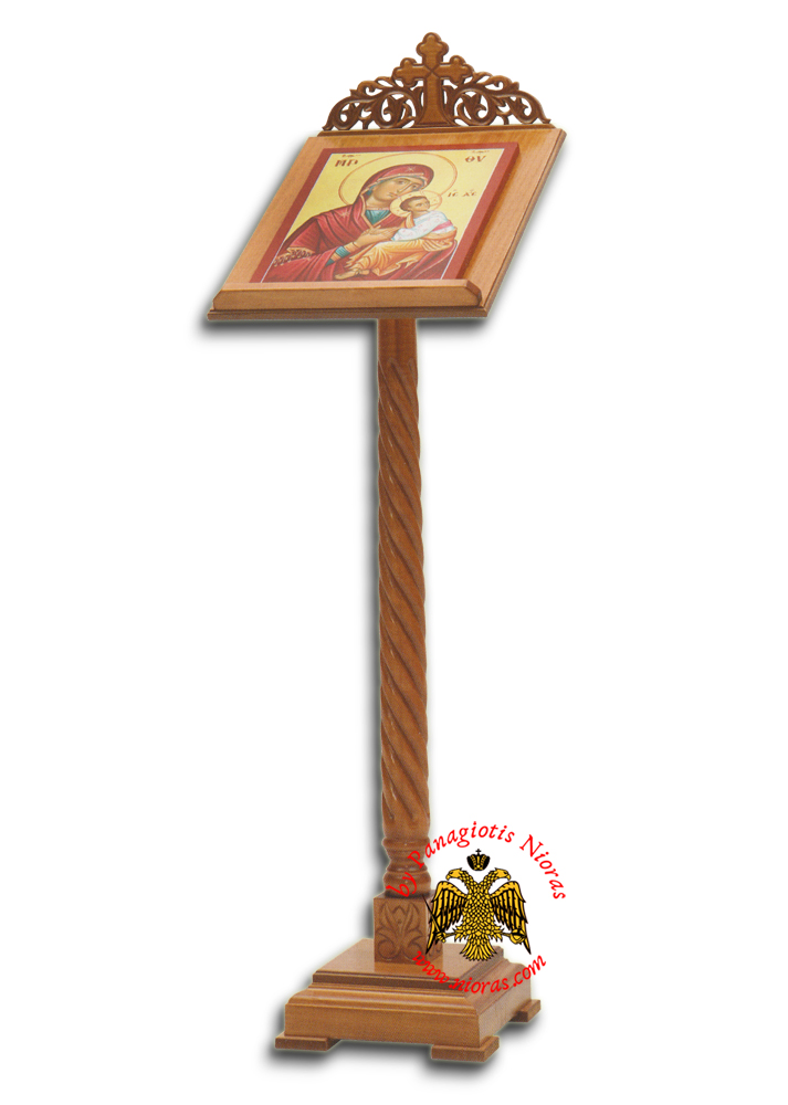 Orthodox Book or Icon Stand Portable Single Column Wood Carved