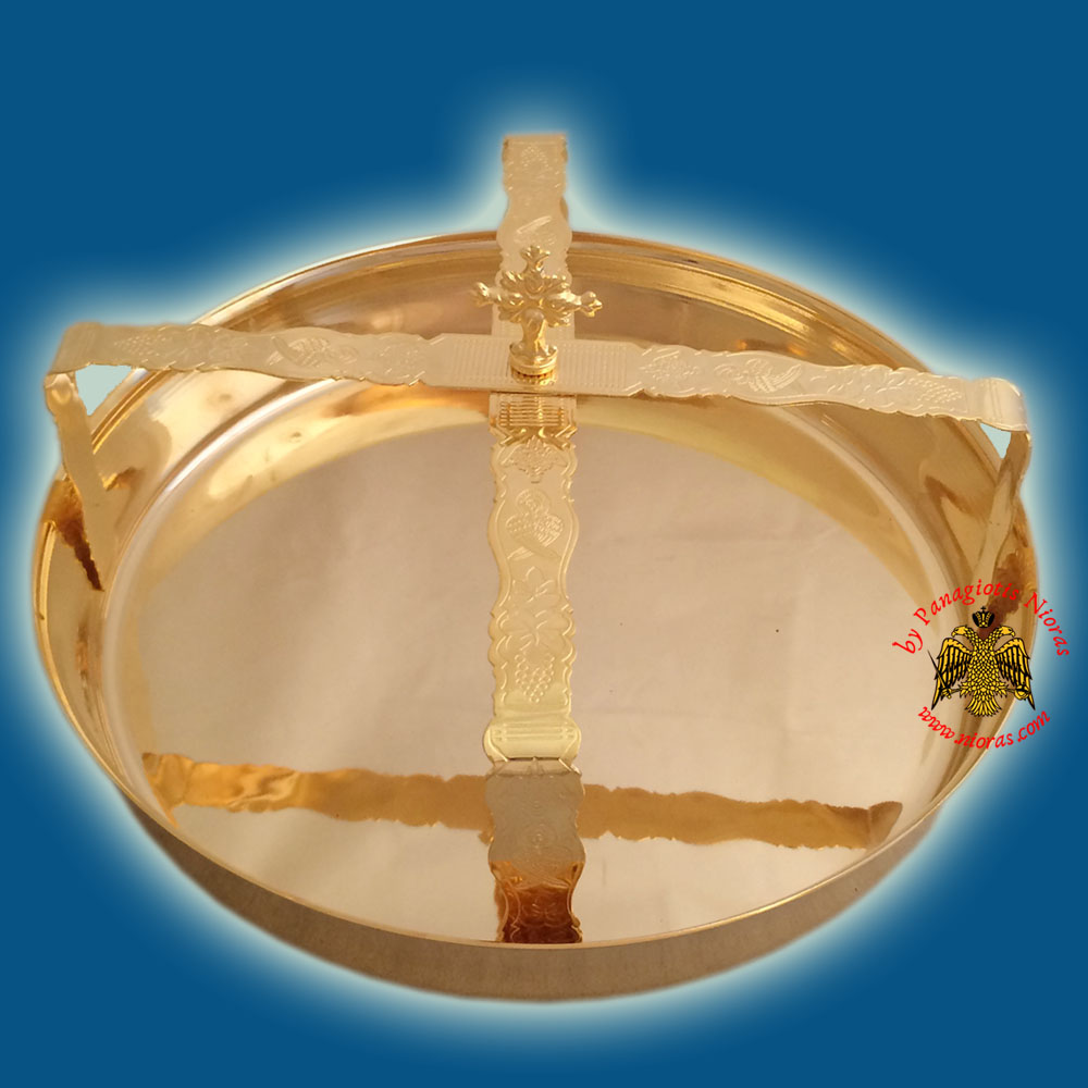 Andidoron Metal Disc with Orthodox Asterisk 20x5cm Gold Plated